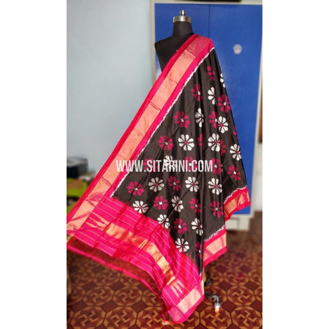 Ikkat Pattu Dupatta-Black and Pink-Sitarini-PRHIPD197
