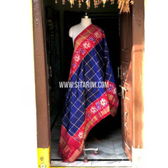 Ikkat Pattu Dupatta-Blue and Dark Pink-Sitarini-PSHIPD280