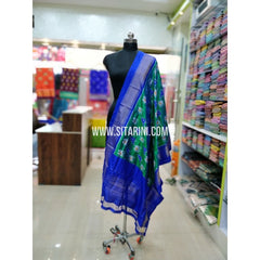Ikkat Pattu Dupatta-Blue and Green-Sitarini-SITIPD153