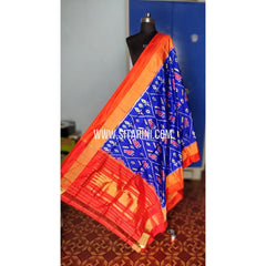 Ikkat Pattu Dupatta-Blue and Orange-Sitarini-PRHIPD195