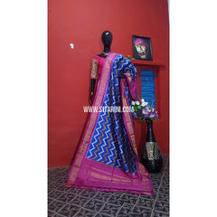 Ikkat Pattu Dupatta-Blue and Pink-Sitarini-PGMHIPD111