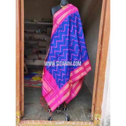 Ikkat Pattu Dupatta-Blue and Pink-Sitarini-PPBIPD112