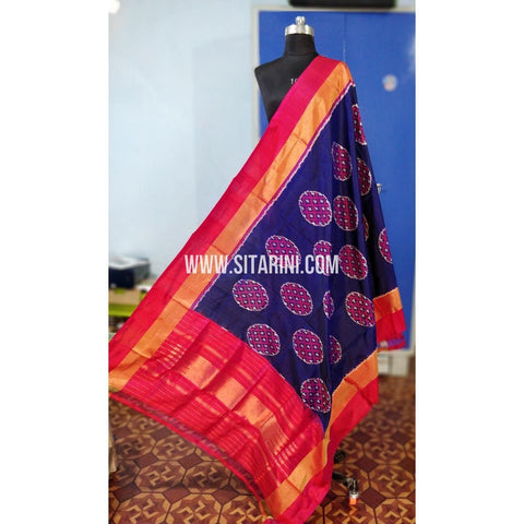 Ikkat Pattu Dupatta-Blue and Pink-Sitarini-PRHIPD203