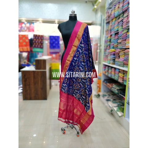 Ikkat Pattu Dupatta-Blue and Pink-Sitarini-SITIPD177
