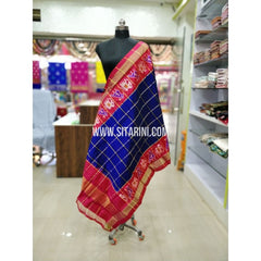 Ikkat Pattu Dupatta-Blue and Pink-Sitarini-SITIPD182
