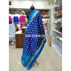 Ikkat Pattu Dupatta-Blue and Skyblue-Sitarini-SITIPD159