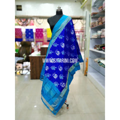 Ikkat Pattu Dupatta-Blue and Skyblue-Sitarini-SITIPD180