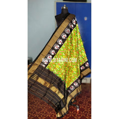 Ikkat Pattu Dupatta-Green and Black-Sitarini-PRHIPD215