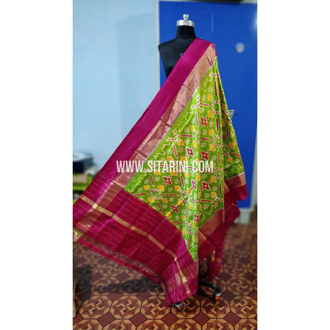 Ikkat Pattu Dupatta-Green and Pink-Sitarini-PRHIPD198