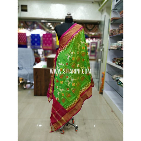 Ikkat Pattu Dupatta-Green and Pink-Sitarini-SITIPD144