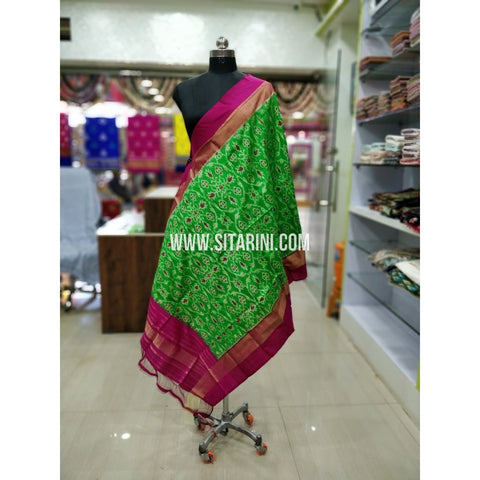 Ikkat Pattu Dupatta-Green and Pink-Sitarini-SITIPD162