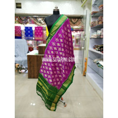 Ikkat Pattu Dupatta-Green and Purple-Sitarini-SITIPD163