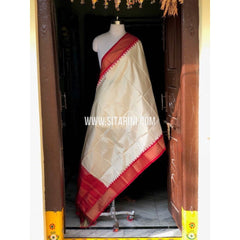Ikkat Pattu Dupatta-Half White and Dark Pink-Sitarini-PSHIPD283