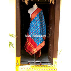 Ikkat Pattu Dupatta-Light Blue and Red-Sitarini-PSHIPD162