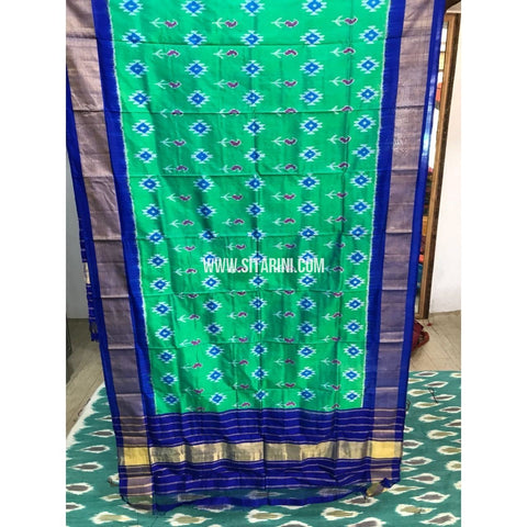 Ikkat Pattu Dupatta-Light Green and Royal Blue-Sitarini-PGMHIPD132