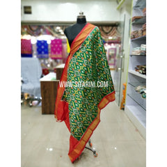 Ikkat Pattu Dupatta-Lightgreen and Orange-Sitarini-SITIPD183