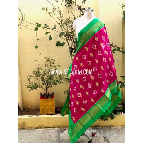 Ikkat Pattu Dupatta-Magenta and Green-Sitarini-PSHIPD286