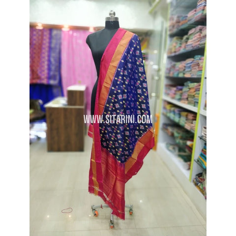 Ikkat Pattu Dupatta-Magenta and Red-Sitarini-SITIPD231