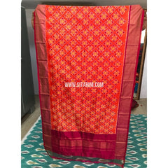 Ikkat Pattu Dupatta-Orange and Magenta-Sitarini-PGMHIPD134