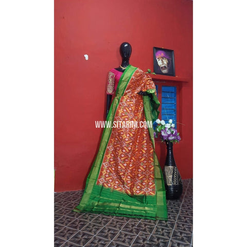 Ikkat Pattu Dupatta-Orange and Parrot Green-Sitarini-PGMHIPD110