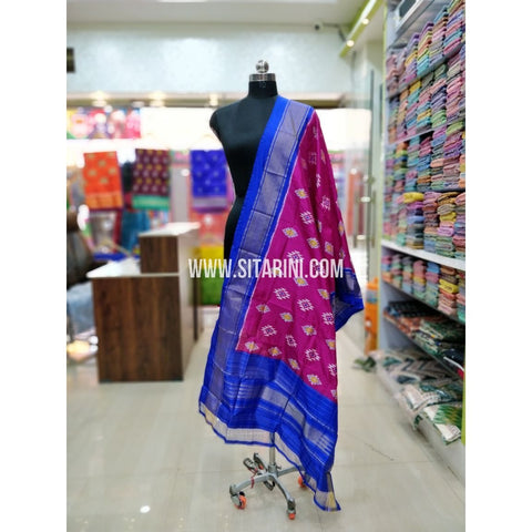 Ikkat Pattu Dupatta-Pink and Blue-Sitarini-SITIPD175