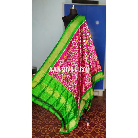 Ikkat Pattu Dupatta-Pink and Green-Sitarini-PRHIPD207