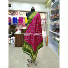 Ikkat Pattu Dupatta-Pink and Green-Sitarini-SITIPD171