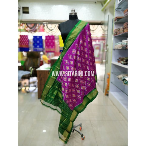 Ikkat Pattu Dupatta-Purple and Green-Sitarini-SITIPD154