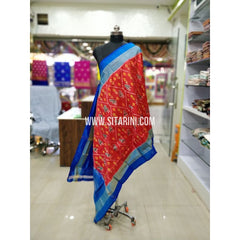 Ikkat Pattu Dupatta-Red and Blue-Sitarini-SITIPD151