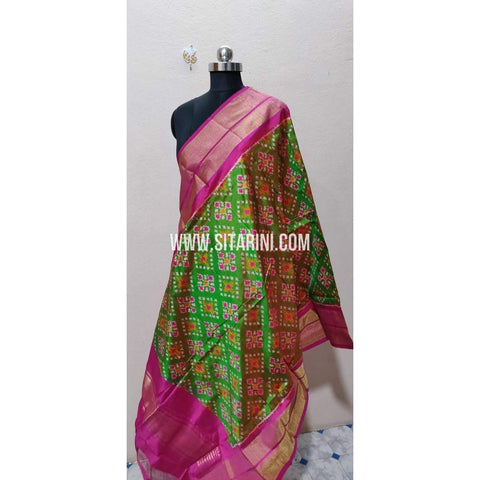 Ikkat Pattu Dupatta-Red and Green-Sitarini-PPBIPD126