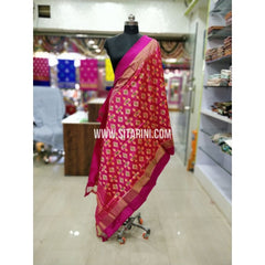 Ikkat Pattu Dupatta-Red and Pink-Sitarini-SITIPD169