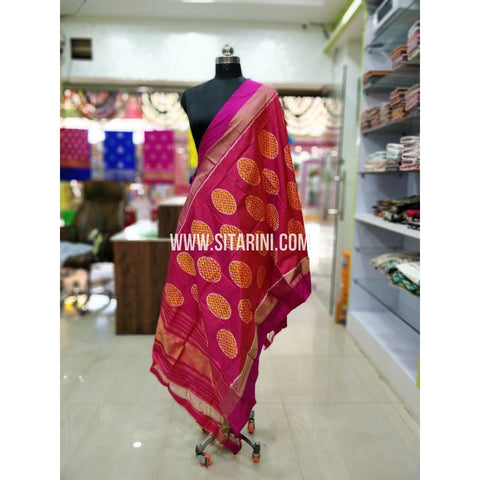 Ikkat Pattu Dupatta-Red and Pink-Sitarini-SITIPD185