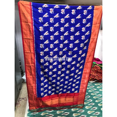Ikkat Pattu Dupatta-Royal Blue and Orange-Sitarini-PGMHIPD131