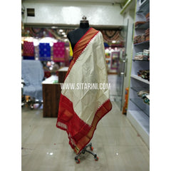 Ikkat Pattu Dupatta-White and Red-Sitarini-SITIPD146