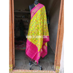 Ikkat Pattu Dupatta-Yellow and Pink-Sitarini-PPBIPD100