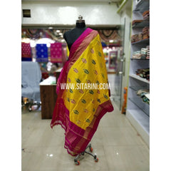 Ikkat Pattu Dupatta-Yellow and Pink-Sitarini-SITIPD173