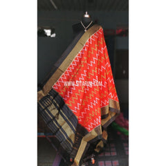 Ikkat Pattu Dupattas-Black and Orange-Sitarini-PRHIPD114