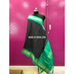 Ikkat Pattu Dupattas-Black and Sea Green-Sitarini-PRRHIPD104
