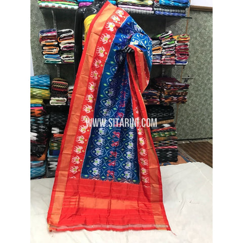 Ikkat Pattu Dupattas-Blue and Red-Sitarini-PGMHIPD157