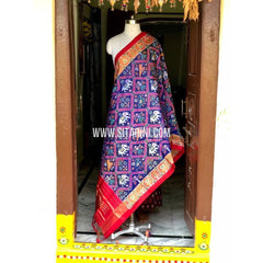 Ikkat Pattu Dupattas-Blue and Red-Sitarini-PSHIPD257