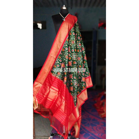 Ikkat Pattu Dupattas-Bottle Green and Red-Sitarini-PSHIPD136