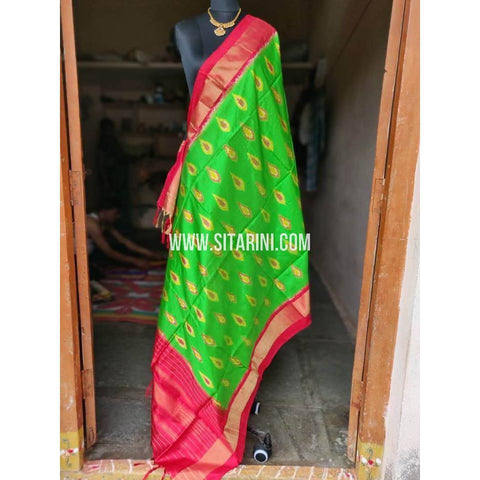 Ikkat Pattu Dupattas-Green and Pink-Sitarini-PSHIPD203