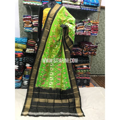 Ikkat Pattu Dupattas-Light Green and Black-Sitarini-PGMHIPD154