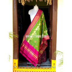 Ikkat Pattu Dupattas-Light Green and Pink-Sitarini-PSHIPD110