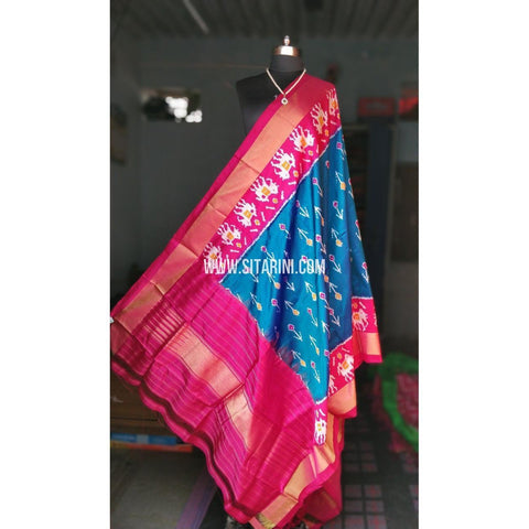 Ikkat Pattu Dupattas-Magenta and Light Blue-Sitarini-PRHIPD113