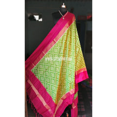 Ikkat Pattu Dupattas-Magenta and Light Green-Sitarini-PRHIPD108