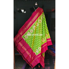 Ikkat Pattu Dupattas-Magenta and Light Green-Sitarini-PRHIPD116