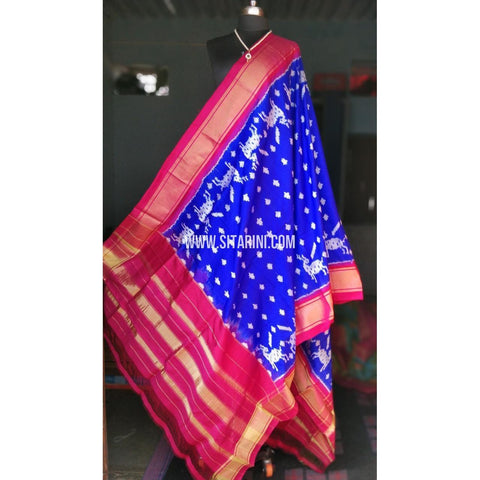 Ikkat Pattu Dupattas-Magenta and Royal Blue-Sitarini-PRHIPD112