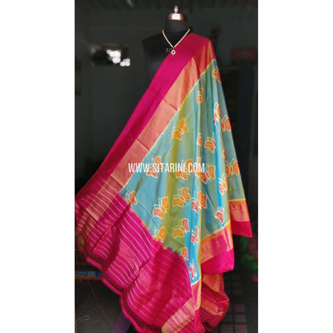 Ikkat Pattu Dupattas-Magenta and Sea Blue-Sitarini-PRHIPD115