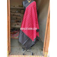 Ikkat Pattu Dupattas-Pink and Black-Sitarini-PSHIPD196